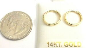 14Kt Yellow Gold 2 X 13MM Huggie Earrings round edge GIFT BOX - FREE SHIPPING!