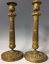 SIGNED Antique 19thC French Empire Dore Gold Gilt Bronze Candlestick Vase