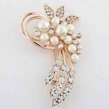 New Gold Colour Flower BROOCH Pin Wedding Crystal Rhinestones Pearls Broach Gift