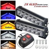 2x 12V 6 LED Strobe Lamp Car Truck Warning Flashing Emergency Grille Bar Light