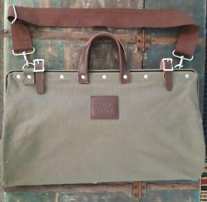 Line of Trade Weekender Bag, Olive Green Leather Handle & Straps Canvas Bespoke