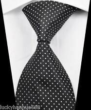 New Classic Stripes Dots Black White JACQUARD WOVEN 100% Silk Men's Tie Necktie