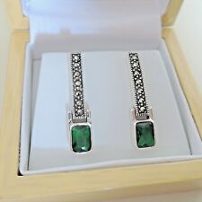 Sterling Silver Art Deco Style Emerald and Marcasite Drop Earrings