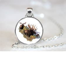 Moose Collage PENDANT NECKLACE Chain Glass Tibet Silver Jewellery