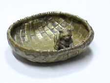 Lovely French old bronze cat baby on basquet small jewel dish centre 10 x 4 cm