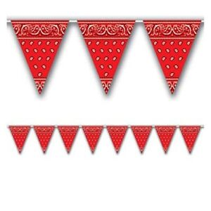 RED COWBOY BANDANA PRINT WESTERN SQUARE DANCE PARTY BUNTING FLAG BANNER!