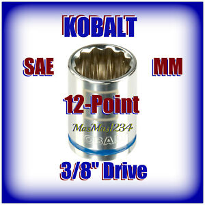 """KOBALT 3/8"""" Drive Shallow Socket - SAE Inch Metric MM 12 Point - Any Size NEW"""