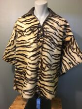 Vtg 60s 70s Ladies Hippie Faux Tiger Stripe Fur Cape Poncho Cloak Jacket Womens