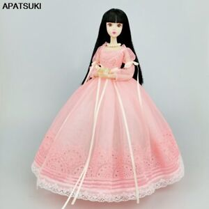 """Pink Fashion Doll Clothes For 11.5"""" Doll Wedding Dress Outfits Lace Gown 1/6 Toy"""