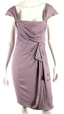 J. MENDEL Lavender Silk Crepe Cap Sleeve Draped Front Sheath Dress 4
