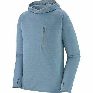 PATAGONIA Mens Sunshade Technical Hooded Long sleeve Shirt Blue M SPF NEW!