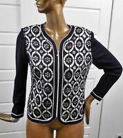 St John Evening Black White Knit Silver Paillette Studded Full Zip Jacket sz 10