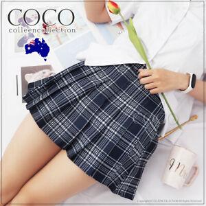 High Waist Short Women School Girls Plaid Pleated Skirt Dancewear Mini Skirt AU