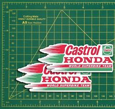 "CASTROL RACING Honda Style Logo Rally Car STICKERS 4"" Pair Race Bike Classic"