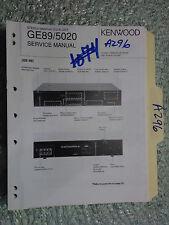 Kenwood ge-89 ge-5020 service manual original repair book stereo graphic eq