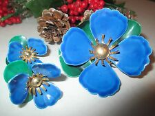 Vintage Sarah Cov Blue Floral Pin With Matching Earrings - 112