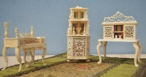 Lot of Three Miniature Dollhouse Furniture Carved Bone Made by Prisoner of War