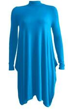 Ladies Women Turtle Polo Neck Long Sleeve Hanky Hem Swing Flared Dress Plus Size