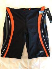 New Speedo Men's Rapid Splice Jammer Swimsuit 38 PowerFLEX Charcoal/Orange $49