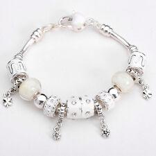XMAS European Murano Glass Beads sterling solid Silver charm Bracelet XB101 +box