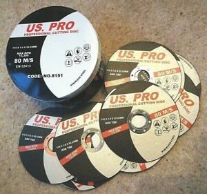 US PRO 50pc. thin metal cutting discs. 115mm diameter, 1mm thick ,22.23mm centre