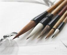 "LOT OF 5 PCS ""Santu""Chinese Water Ink Freehand Brushwork Xieyi Brush+Bamboo Bag"
