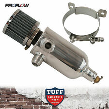 Proflow Twin Inlet 750ml Polished Oil Catch Can Tank & Breather & Drain Tap 12AN