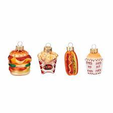 Baumschmuck Mini Fast Food 4er Set | Glas Baumkugel Anhänger Weihnachten Essen