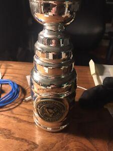 Mario Lemieux Pittsburgh Penguins signed mini Stanley Cup Trophy