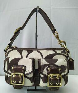 Coach Signature Brown Canvas Leather Buckle Pockets Medium Satchel Shoulder Bag