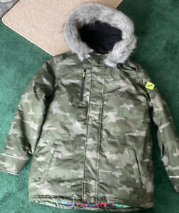 Boys Matalan  Padded Camouflage Coat Size 13 Removable Fur On Hood