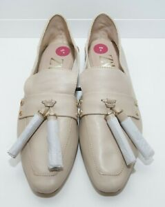 Zara Cream Leather Fold down Loafers Flats Shoes Size 36 3 UK NWOB