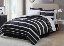 Black White Striped Geometric 8 Piece Comforter Bedding Set Full Size NEW