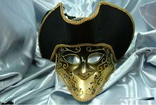 Men Light Bauta Pirate Hat Theater Halloween Masquerade Mask - Gold/Black