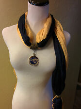Los Angeles  Rams Rhinestone Pendant on TWO Shimmer crinkle jewelry scarves.