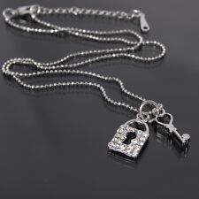 Halskette Kette Schloss und Schlüssel Anhänger Strass Modeschmuck