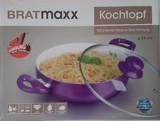 Bratmaxx Kochtopf Brat-Pfanne 2fach Keramik-Beschichtung + Glasdeckel (24cm)