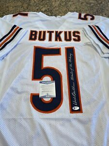 Dick Butkus Signed Monsters Of The Midway Custom White Jersey Beckett Witnessed