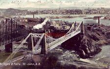 BRIDGES & FALLS, ST. JOHN, N.B. CANADA 1907