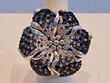 Large Swarovski Black and White Crystal Sterling Silver Flower Ring 8