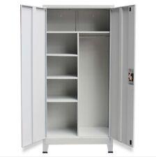 More details for office clothes locker metal closet wardrobe storage 2 door lockable cabinet grey