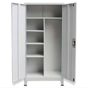 Office Clothes Locker Metal Closet Wardrobe Storage 2 Door Lockable Cabinet Grey