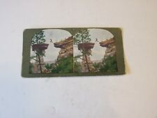 "1890'S ANTIQUE STEREOVIEW CARD BY T. W. INGERSOLL ""JUMPING TO STAND ROCK"" #252"