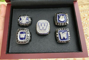 5pc 1962 to 2019 Winnipeg Blue Bombers Grey Cup Championship Ring Wooden Box Set