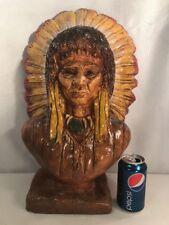 Vtg Native American Indian Chief Headdress Chalk Cigar Display Bust Statue West