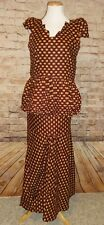 Burgundy Tan Traditional Ethnic Clothing Women Suit African 3 PC Suit Skirt Set