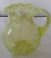VINTAGE FENTON ART GLASS YELLOW TOPAZ OPALESCENT DAISY & FERN MILK PITCHER