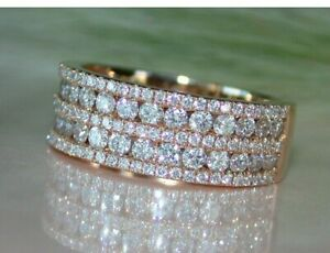2Ct Round Cut Diamond Women's Special Wedding Band Ring 14k Rose Gold Finish