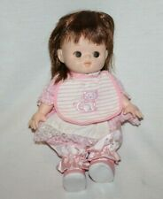 """Baby Doll Takara 1997 12"""" Soft Plush Brown Hair Anime Pink Outfit Cute Toy Htf"""