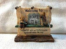 Boyds Bear Route 33 1/3 Village Hugh Lou Welcome Sign Figurine Villages 19908